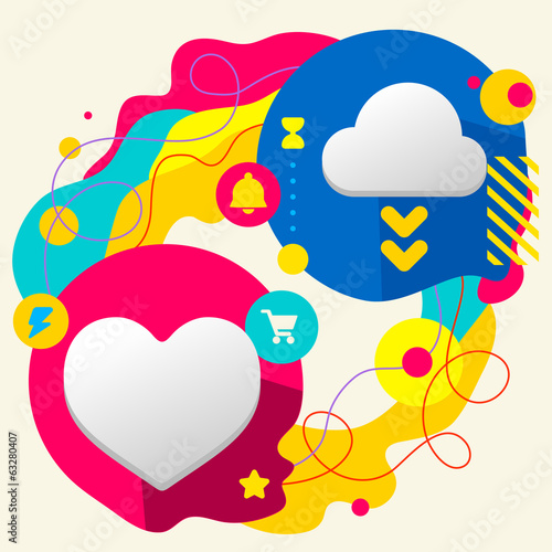 Heart and cloud on abstract colorful splashes background with di