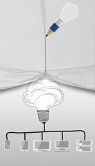 pencil lightbulb 3D draw rope open wrinkled paper show graphic c