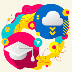 Academic hat and cloud on abstract colorful splashes background