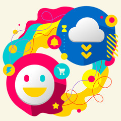 Smile and cloud on abstract colorful splashes background with di