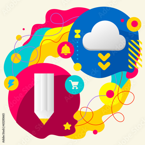 Pencil and cloud on abstract colorful splashes background with d