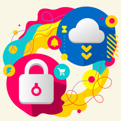 Lock and cloud on abstract colorful splashes background with dif