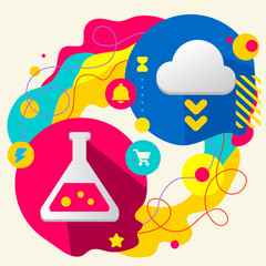 Laboratory flask and cloud on abstract colorful splashes backgro