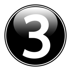 Black number three button