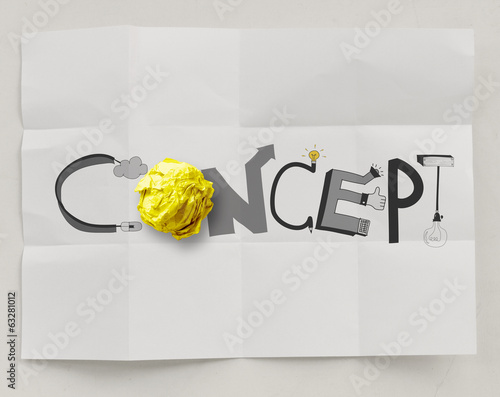 hand drawn design word CONCEPT with crumpled paper ball on paper