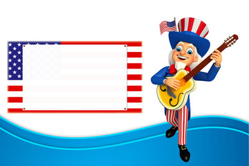 Illustration of Uncle Sam with guitar and sign