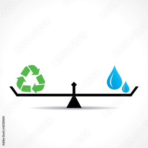 save nature concept recycle symbol and water symbol