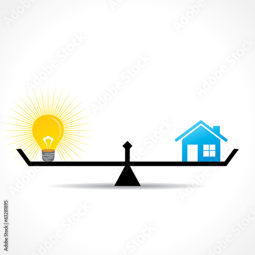 compare home and bulb idea  concept vector
