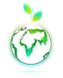 Globe abstract icon with green leaf
