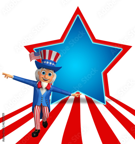 Illustration of Uncle Sam is walking on the floor