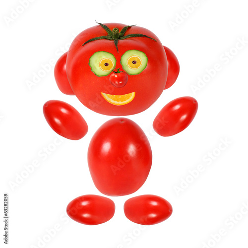 Funny tomato looks and smiles