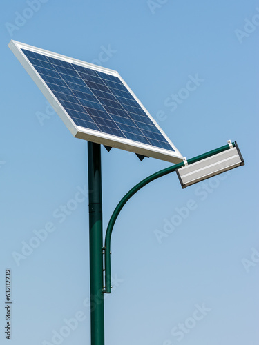 Modern Public Light Post Powered By Solar Energy