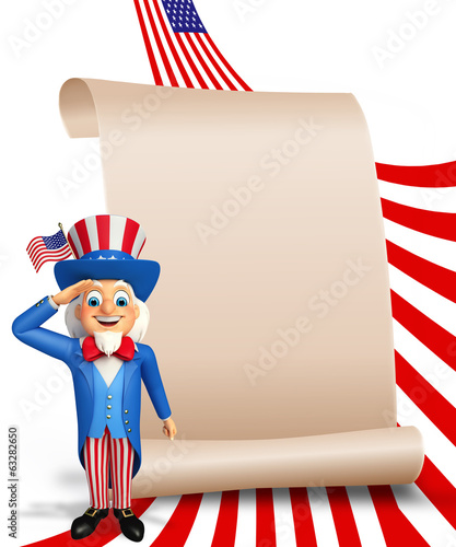 Illustration of Uncle Sam is doing salute with sign