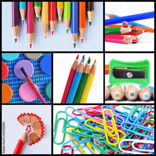 school supplies collage