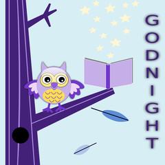 Cartolina della buonanotte con gufo
