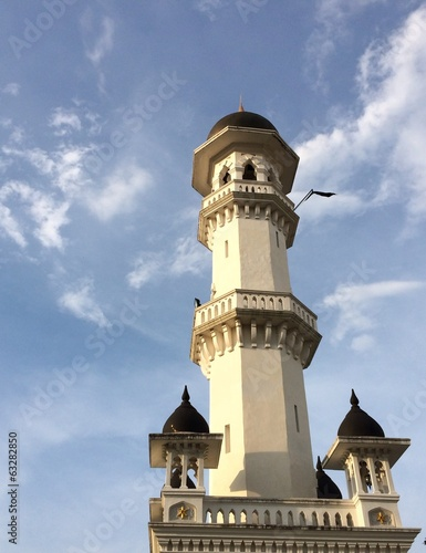 Close up of the minaret of Kapitan Keling Mosque Penang