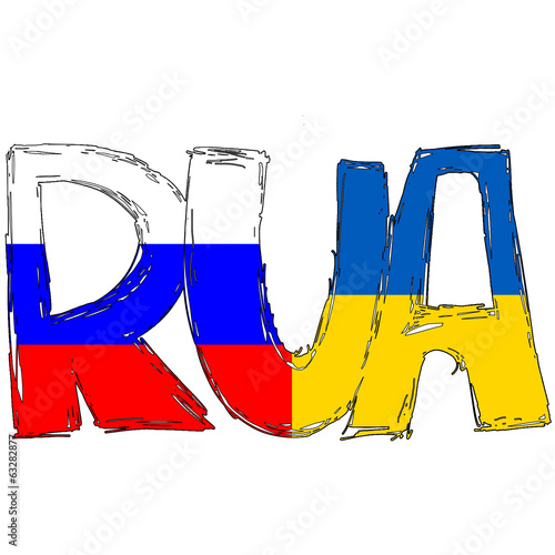 Russia and Ukraine Flag Text