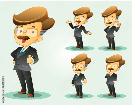 cartoon office worker set various poses