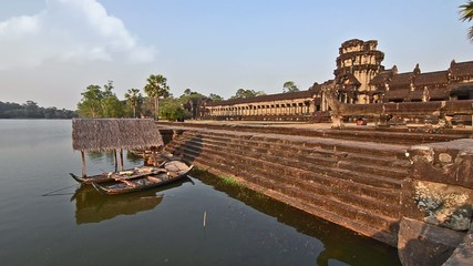 cambodia, mekong river and angkor wat temple
