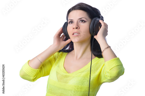 the girl in earphones on a white background