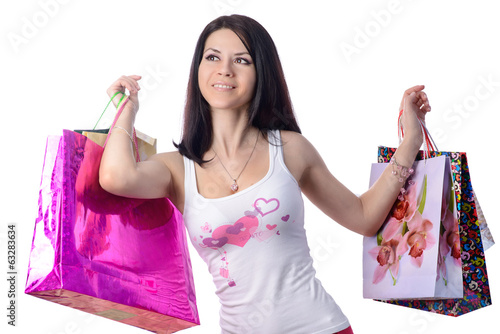 the girl with bags on a white background