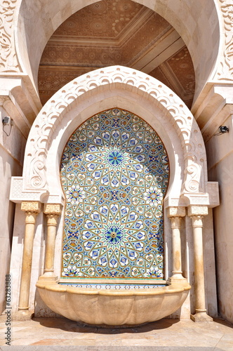 Detail of Gates of the The Hassan II Mosque, located in Casablan