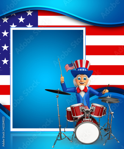 Illustration of Uncle Sam with drum set