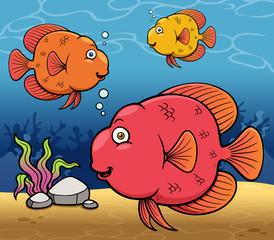 Vector illustration of Cartoon fish