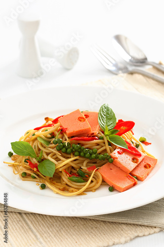 Fried Spaghetti with ham and sausage, Spicy fusion Thai food