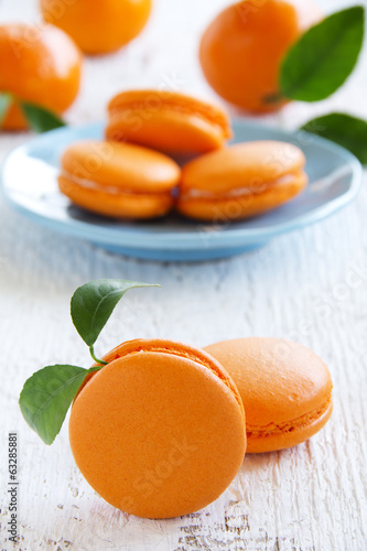 Makarons with orange cream.
