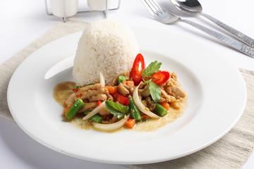 Thai spicy food, chicken whit basil on rice.