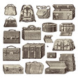 collection of vintage baggage illustrations