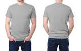 Fototapety Gray t shirt on a young man template