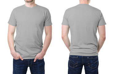 Gray t shirt on a young man template