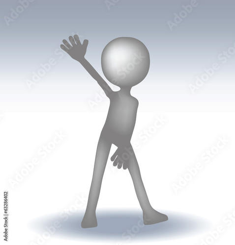 3d small man waving hand