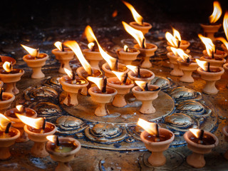 Butter lamps at Swayambhu in Kathmandu