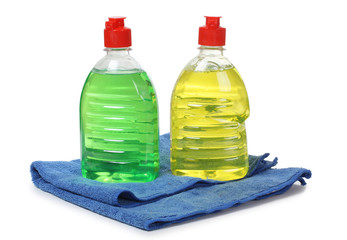 Cleaning products in bottle
