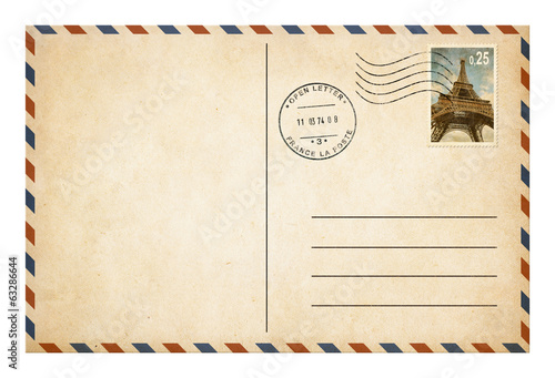 Leinwanddruck Bild Old style postcard or envelope with postage stamp isolated