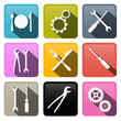 Retro Vector Buttons: Cogs, Gears, Screwdriver, Pincers, Spanner