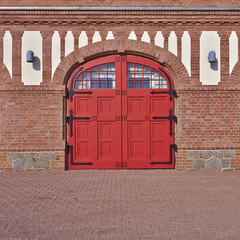 arched red door, central Europe, Germany