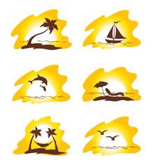 Set  - island and palms