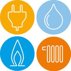 vier icons strom gas wasser wärme