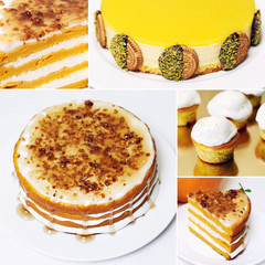 Collage yellow white cakes