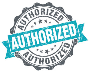 Authorized blue grunge retro style isolated seal