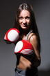 Beautiful smiling boxing girl, fitness