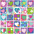 colorful hearts flowers and dots collection pattern