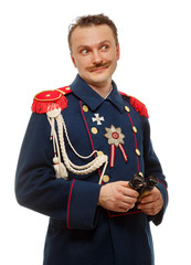 French general with beautiful mustache holding binoculars