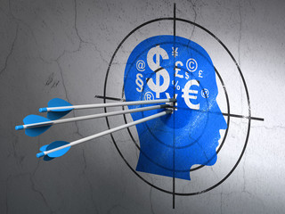 Education concept: arrows in Head With Finance Symbol target on