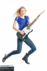 Blondine mit E-Gitarre