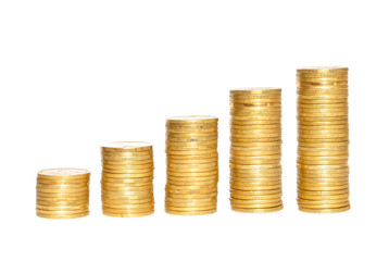 Savings, increasing columns of gold coins over white background